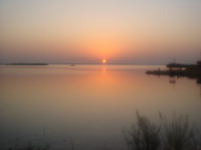 Sunset over Keenjhar Lake,  Sindh Province